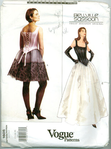 Vogue 1605 - Designer Original - Corset Top and Flared Skirt - Serendipity Vintage