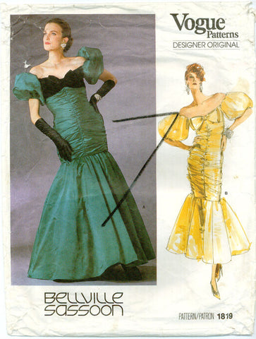 Vogue 1819 - Designer Original - Mermaid Silhouette Dress with Ruching, Bow - Serendipity Vintage