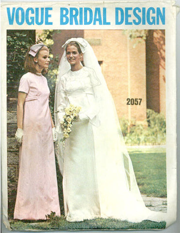 Vogue 2057 -  Bridal Design -  Brides A-Line Dress and Bridesmaids Dress in Day or Evening Length - Serendipity Vintage
