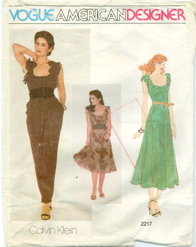 Vogue 2217 - American Designer - Ruffled Blouse, Pants, or Dress by Calvin Klein - Serendipity Vintage