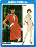 Vogue 2258 -  Americana - Mod A-Line Dress with Tab Inset Trim by Bill Blass - Serendipity Vintage