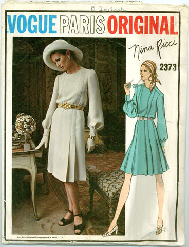 Vogue 2373 - Paris Original - Pleated Skirt A-Line Dress by Nina Ricci - Serendipity Vintage