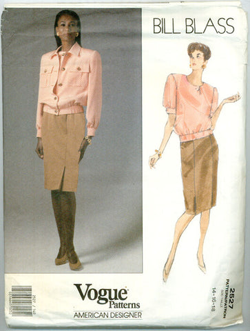 Vogue 2527 - Safari Style Jacket, Blouse, Skirt by Bill Blass - Serendipity Vintage