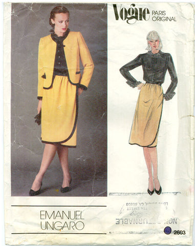 Vogue 2603 - Paris Original - Double Ruffles Blouse, Jacket, Skirt by Emanuel Ungaro - Serendipity Vintage