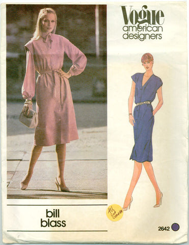 Vogue 2642 - American Designers - Misses Shirt Dress or Jumper and Belt by Bill Blass - Serendipity Vintage