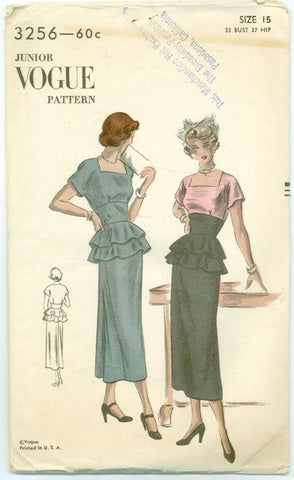 Vogue 3256 - 1940s Square Neckline Dress with Ruffled Peplum - Serendipity Vintage