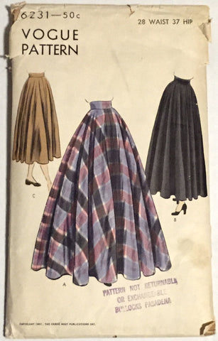 Vogue 6231 - Long Full Skirt in Below Knee, Tea, and Floor Lengths - Serendipity Vintage