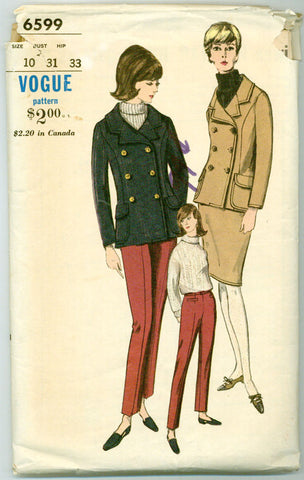 Vogue 6599 - 1960s Double-breasted Jacket, Pants, Skirt - Serendipity Vintage