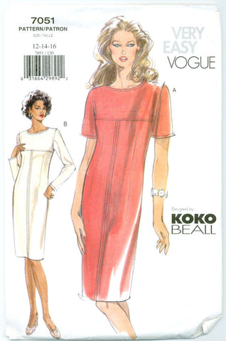 Vogue 7051 - Sheath Dress with Short or Long Sleeves and Topstitching Detail - Serendipity Vintage