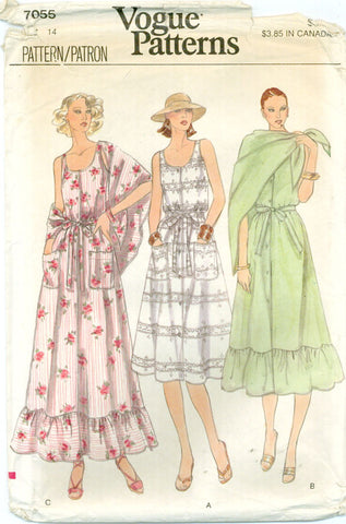 Vogue 7055 - Misses' Sleeveless Sundress with optional Ruffled Hem, Belt, and Shawl - Serendipity Vintage