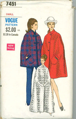 Vogue 7451 - Trio of Capes - Day, Evening, or Opera Cape - Serendipity Vintage