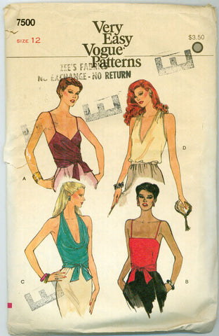 Vogue 7500 - Halter, Cowl, and Spaghetti Strap Tank Tops with Tie Front - Serendipity Vintage