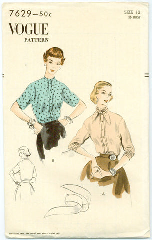 Vogue 7629 - 1950s Blouse with Band Collar or Ascot and Short or Three-Quarter Length Sleeves - Serendipity Vintage