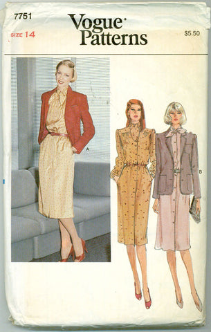 Vogue 7751 - Tie Neck Shirtwaist Dress and Jacket - Serendipity Vintage