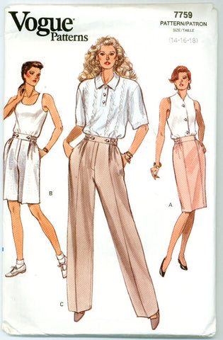 Vogue 7759 - Misses' Skirt, Shorts, Pants - Serendipity Vintage