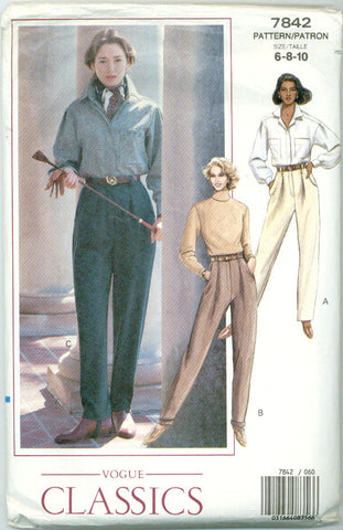 Vogue 7842 - Misses Tapered Pants with Pockets - Serendipity Vintage