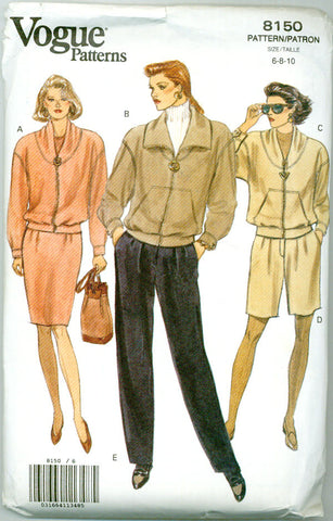 Vogue 8150 -  Casual Activewear Separates - Knit Jacket, Skirt, Pants, Shorts - Serendipity Vintage