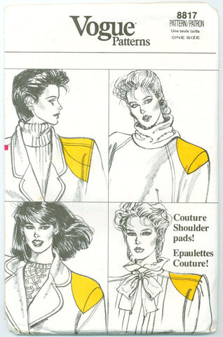 Vogue 8817 - Shoulder Pads, Pad Covers, and Sleeve Puff - Serendipity Vintage