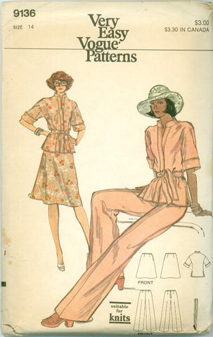 Vogue 9136 - Misses' Sportswear - Standing Collar Top, A-Line Skirt, Pants - Serendipity Vintage