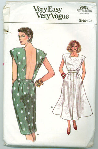 Vogue 9605 - 1980s Backless Day Dress with Cap Sleeves - Serendipity Vintage