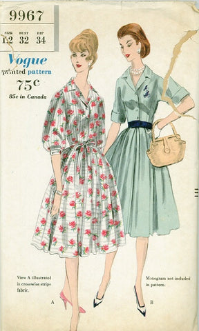 Vogue 9967 - 1960s Dress with Gathered or Pleated Skirt - Serendipity Vintage