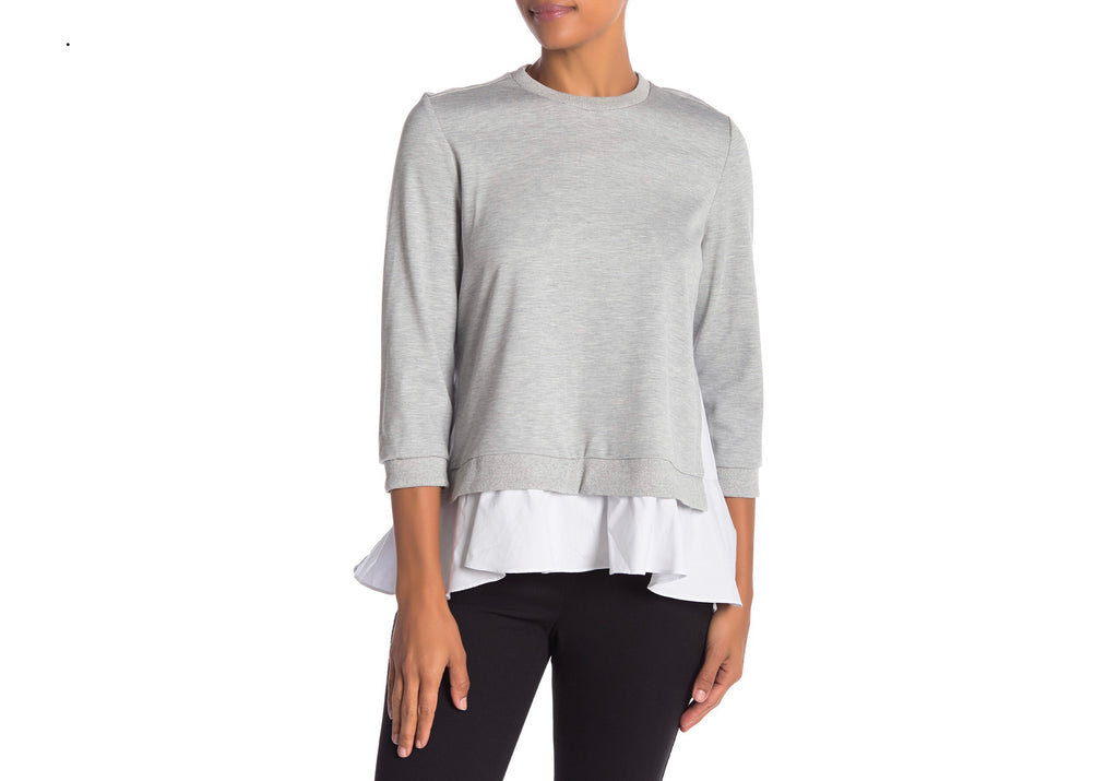 Contrast Layered Pullover Knit Top