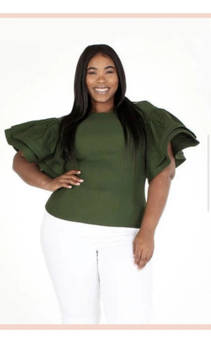 Puff Sleeve Top- Olive - Faithfully Fresh Apparel