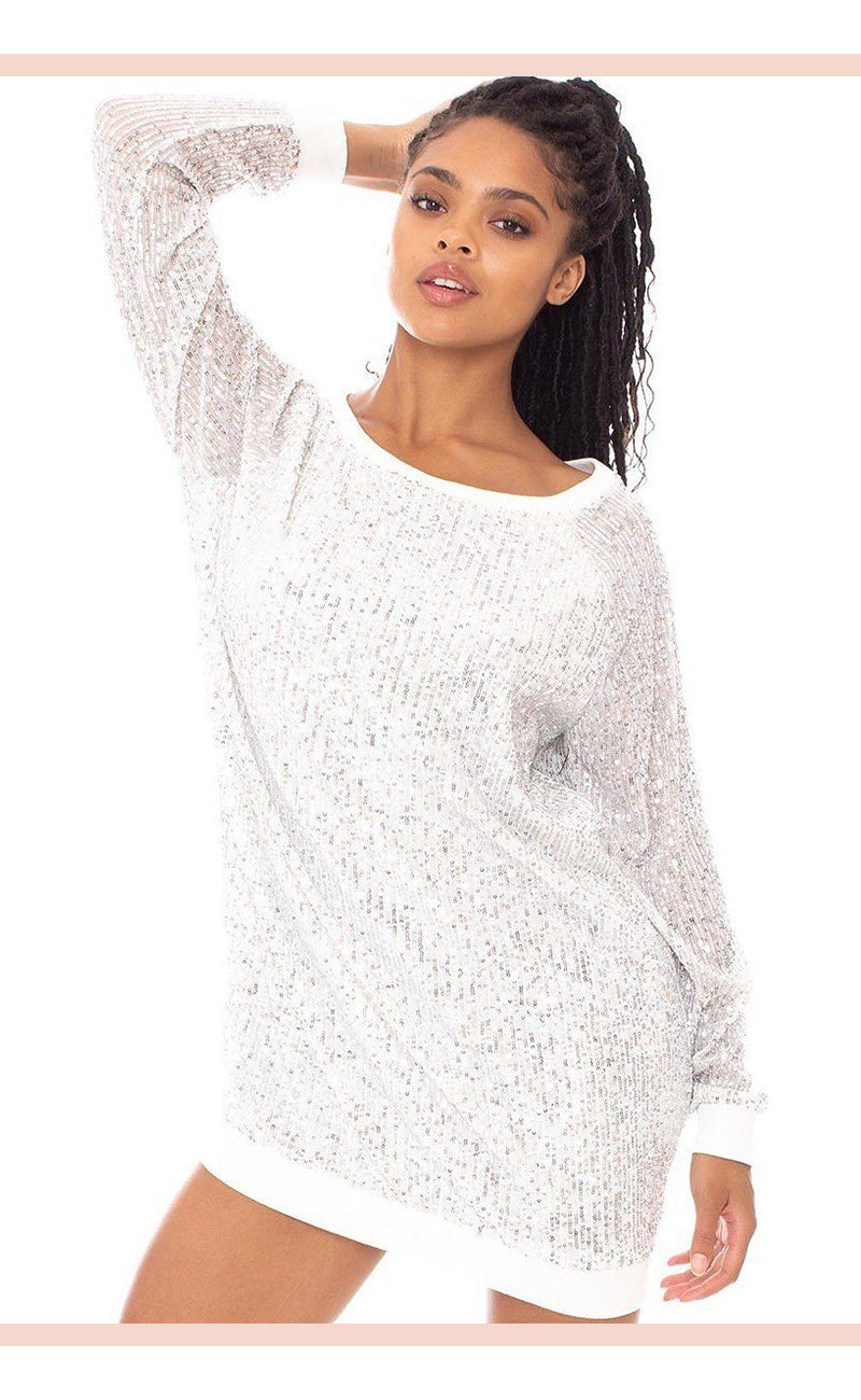 White Sequin Wide Neck Boxy Mini Dress