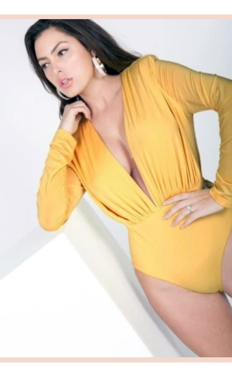 Body Suit Vibe (Mustard) - Faithfully Fresh Apparel