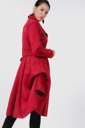 Red Waist Belt Tacked Faux Suede Coat - Faithfully Fresh Apparel