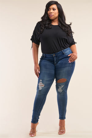 Plus Size Dark Blue Low-rise Ripped Denim Pants - Faithfully Fresh Apparel