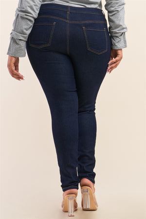 Plus Size Low-mid Rise Straight Cut Denim Pants - Faithfully Fresh Apparel