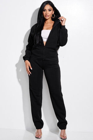 Solid French Terry Zip Front Faux Fur Lined Jacket And Pants 2 Piece Set - Faithfully Fresh Apparel