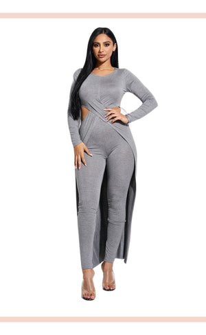 Solid Heavy Rayon Spandex Long Sleeve Crossed Over Long Top And Leggings 2 Piece Set - Faithfully Fresh Apparel