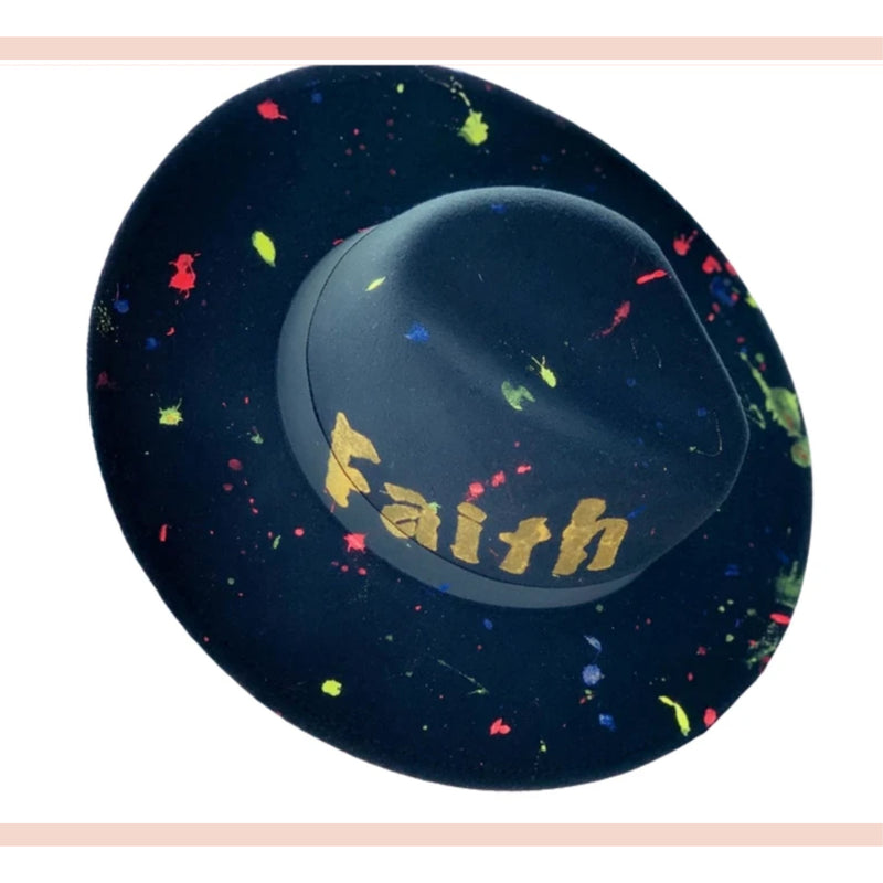 Splatter Paint Faith Fedora Hat - Faithfully Fresh Apparel