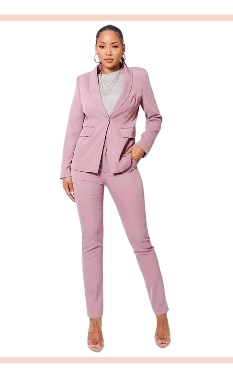One Button Blazer Jacket & Tapered Trouser Set - Faithfully Fresh Apparel