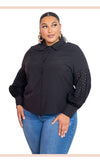 Black Blouse With Punched Sleeves - Faithfully Fresh Apparel