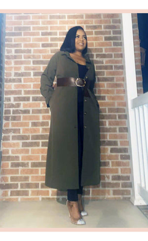 Luxe Olive Green Coat - Faithfully Fresh Apparel