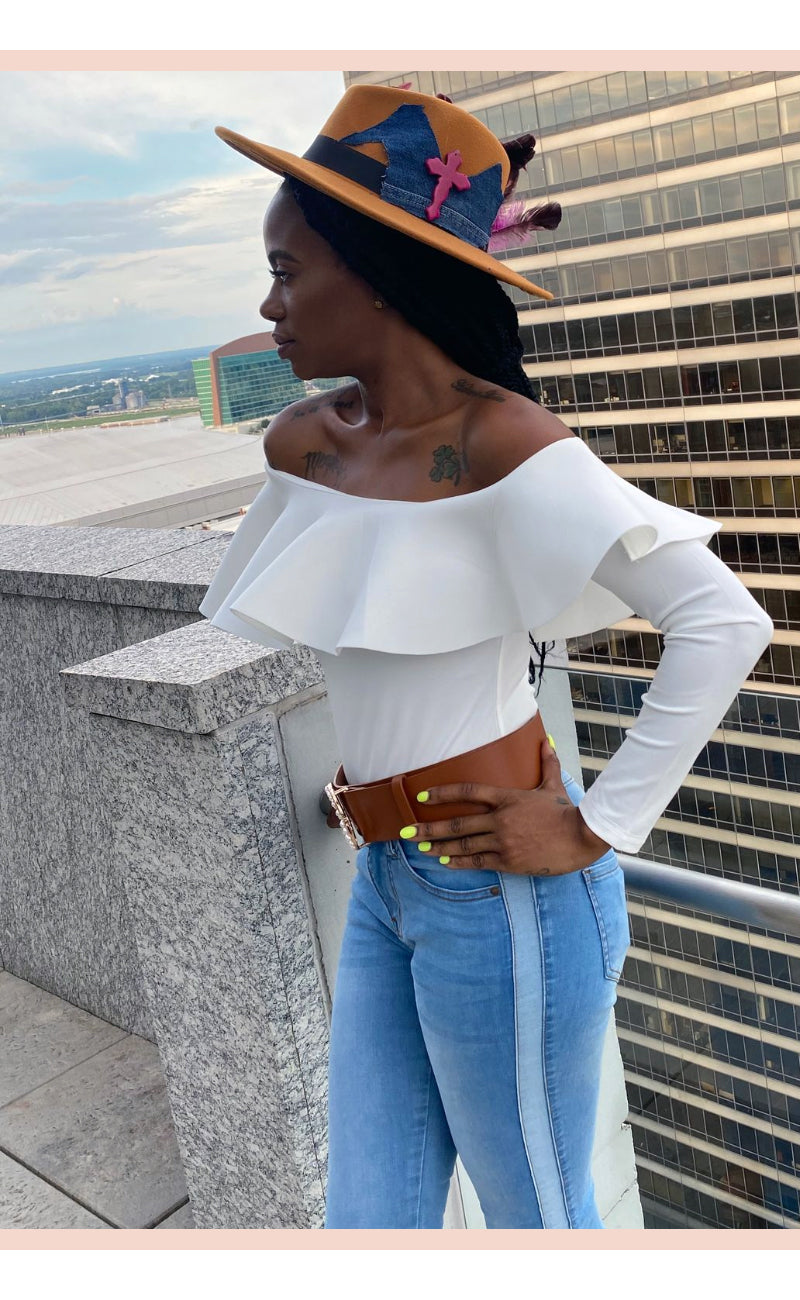Exaggerated Frill Off Shoulder Bodysuit - Faithfully Fresh Apparel