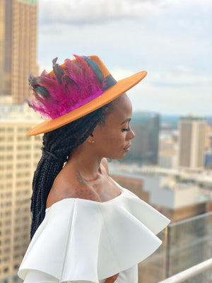Orange Feather Fedora Hat - Faithfully Fresh Apparel