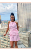 Striped Pink Short Jumpsuit - Faithfully Fresh Apparel
