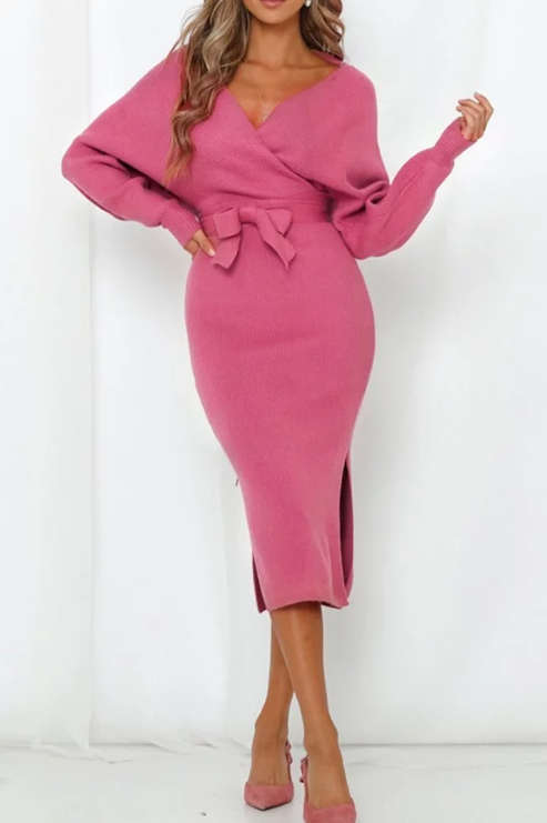 Rose Pink Sweater Dress