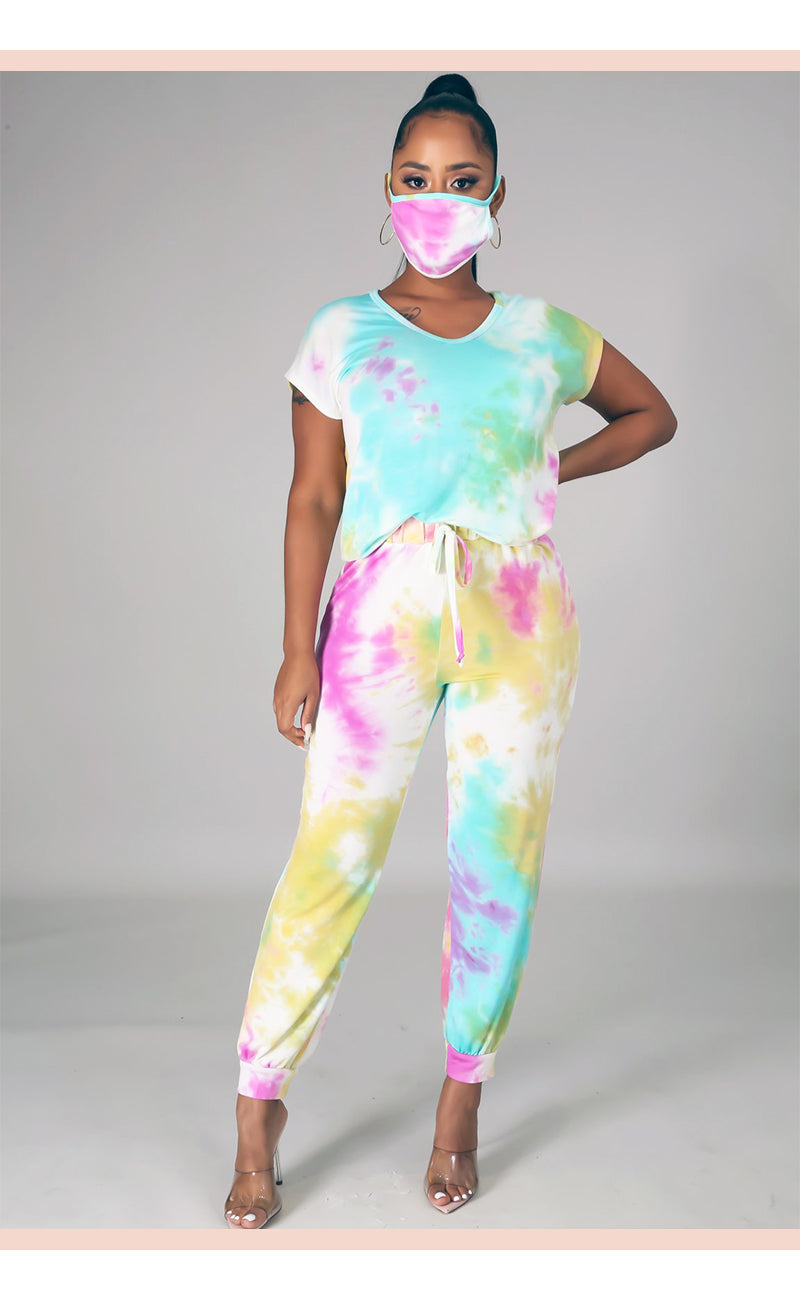 Bubblegum Tie Dye Sweatpants Set with Mask - Faithfully Fresh Apparel
