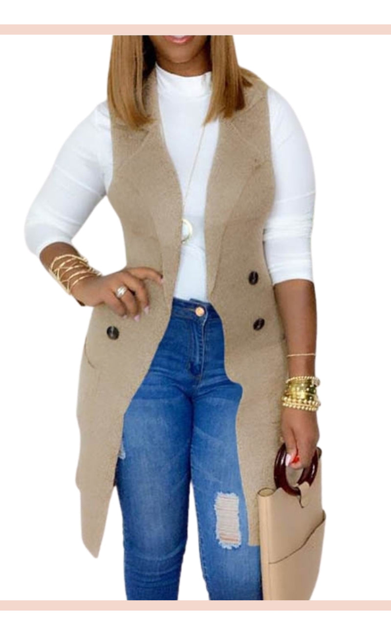 Khaki Sweater Waistcoat - Faithfully Fresh Apparel