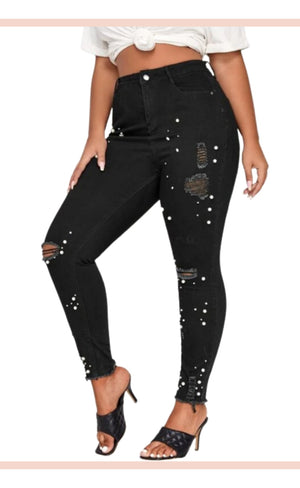 Pearl Studded Ripped Denim Pants