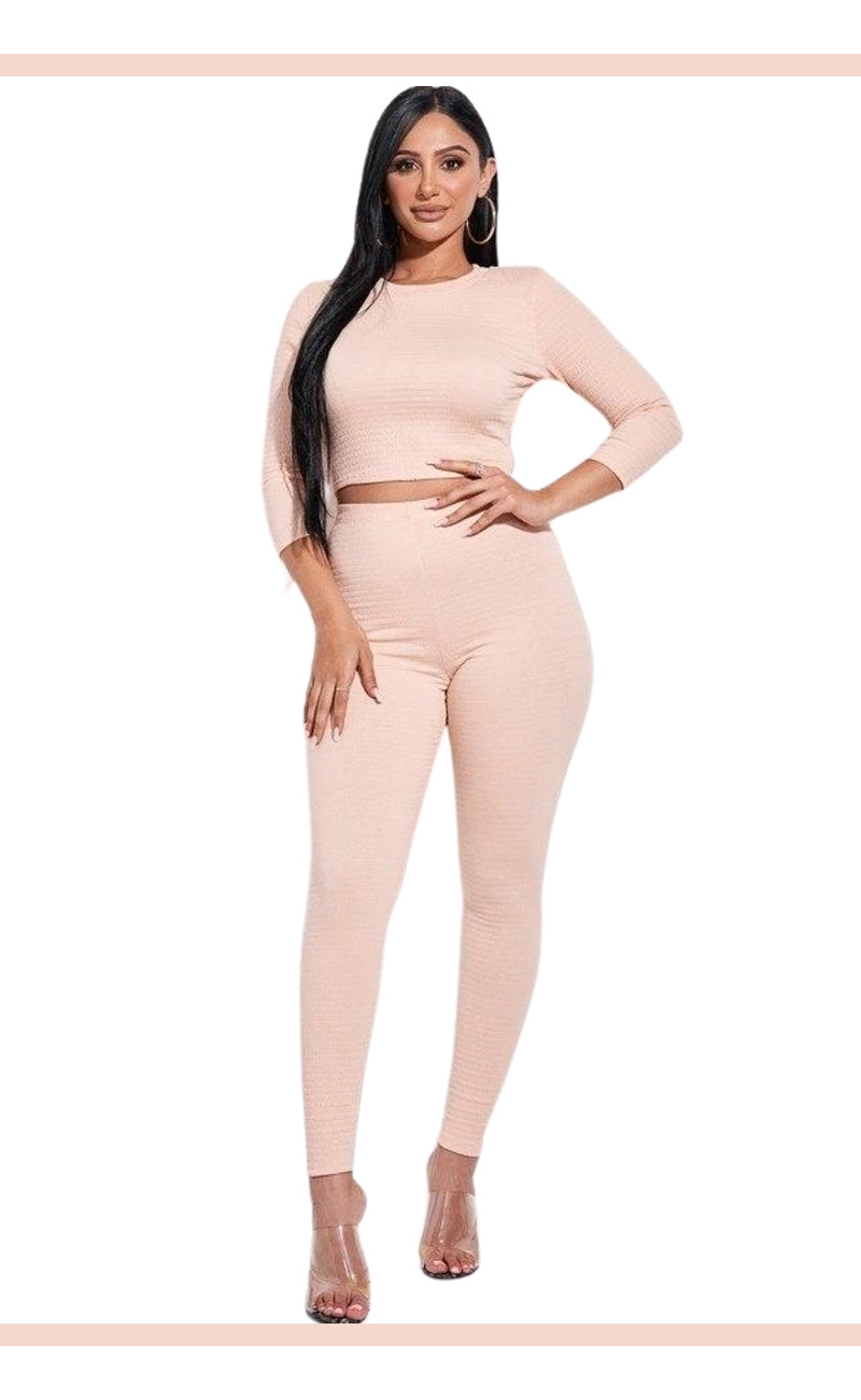 Peach Solid Smocked 3/4 Sleeve Top And Leggings Two Piece Set
