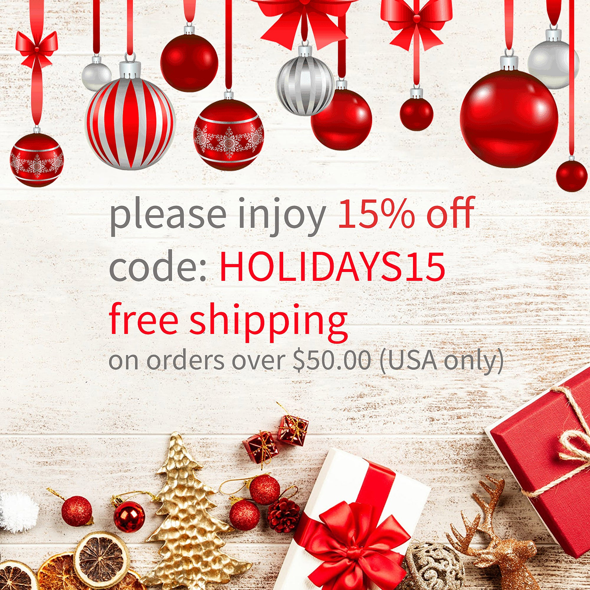 15% OFF Happy Holidays