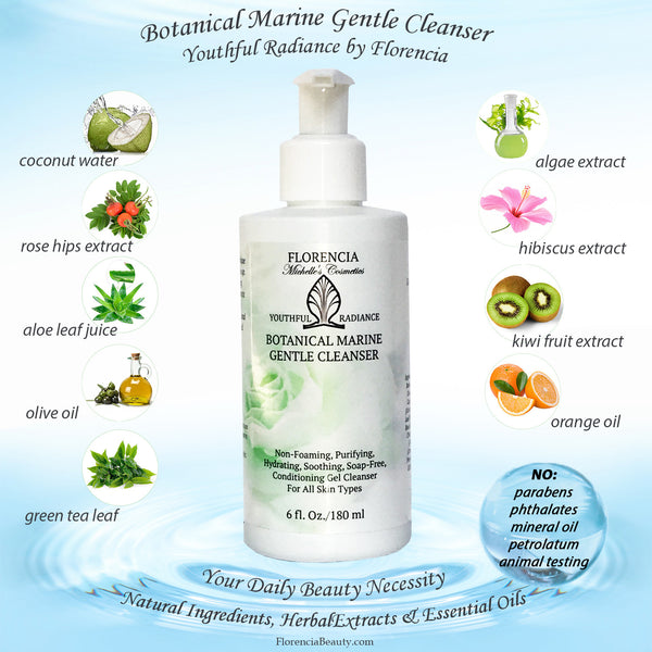Botanical Marine Gentle Cleanser bottle and small pictures of ingredients such as coconut water, rose hips extract, aloe leaf juice and more.