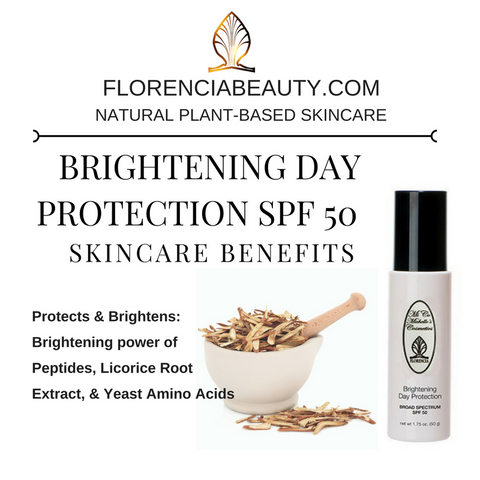 A bottle of SPF 50 Brightening Day Protection Broad Spectrum with benefits including protecting and brightening.
