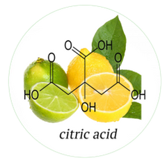 Citric Acid derived from citrus fruit. It is a type of alpha-hydroxy acid (AHA). It exfoliates the skin, improves texture of skin and lightening its tone. It promotes the growth of collagen. Citric Acid also helps adjust the pH balance, and a great natural preservative.